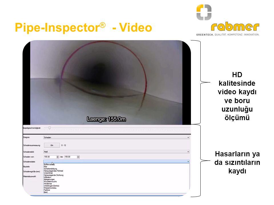 Pipe-Inspector ® - Video HD kalitesinde video kaydı ve boru uzunluğu ölçümü Hasarların ya da sızıntıların kaydı