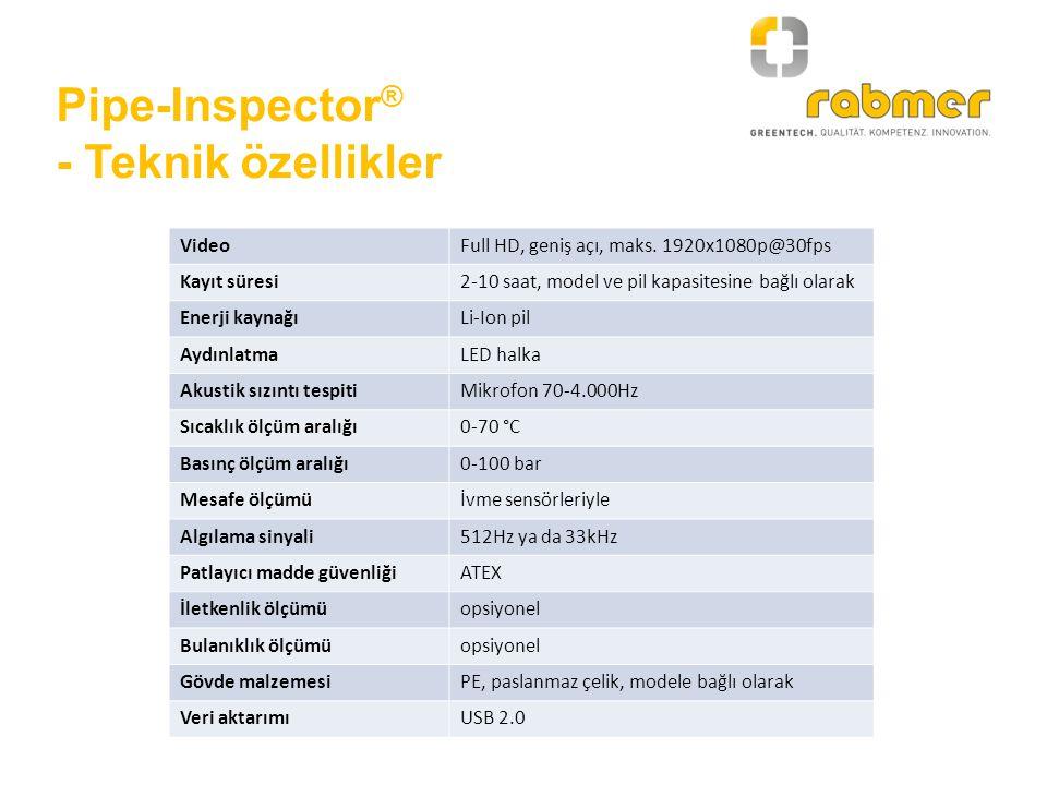 Pipe-Inspector ® - Teknik özellikler VideoFull HD, geniş açı, maks. 1920x1080p@30fps Kayıt süresi2-10 saat, model ve pil kapasitesine bağlı olarak Ene