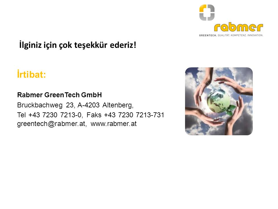 İrtibat: Rabmer GreenTech GmbH Bruckbachweg 23, A-4203 Altenberg, Tel +43 7230 7213-0, Faks +43 7230 7213-731 greentech@rabmer.at, www.rabmer.at İlgin