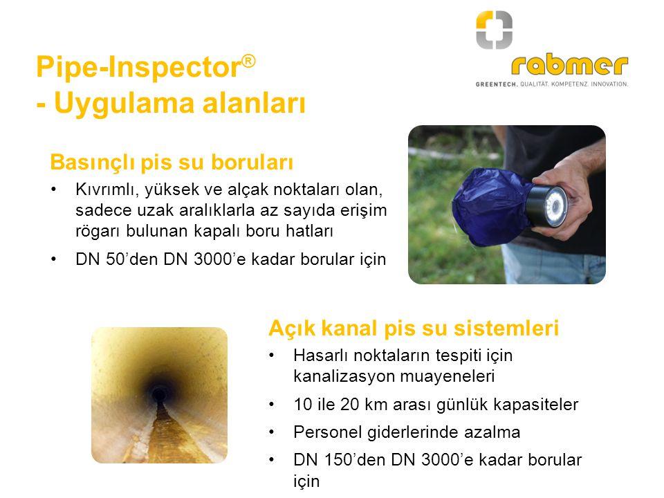 Pipe-Inspector ® - Ön temizlik Boruların kirlilik derecesine bağlı olarak, basınçlı borularda pig kullanımıyla ön temizlik Yeterli su kapasiteli bir temizlik aracı veya yakındaki bir yangın su vanası yardımıyla Bir hat vanasından giriş