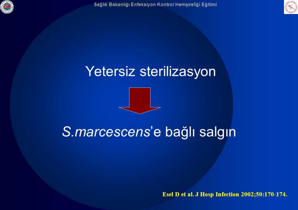Sağlık Bakanlığı Enfeksiyon Kontrol Hemşireliği Eğitimi Yetersiz sterilizasyon S.marcescens'e bağlı salgın Esel D et al. J Hosp Infection 2002;50:170-