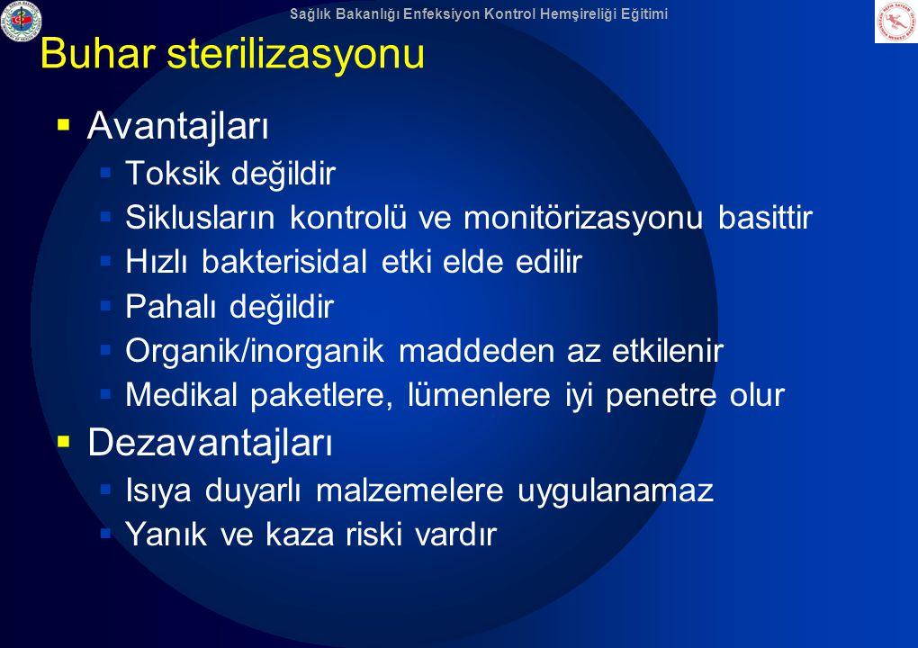 Sağlık Bakanlığı Enfeksiyon Kontrol Hemşireliği Eğitimi Buhar sterilizasyonu  Avantajları  Toksik değildir  Siklusların kontrolü ve monitörizasyonu