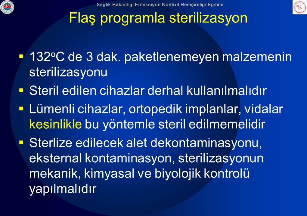 Sağlık Bakanlığı Enfeksiyon Kontrol Hemşireliği Eğitimi Flaş programla sterilizasyon  132 o C de 3 dak. paketlenemeyen malzemenin sterilizasyonu  St