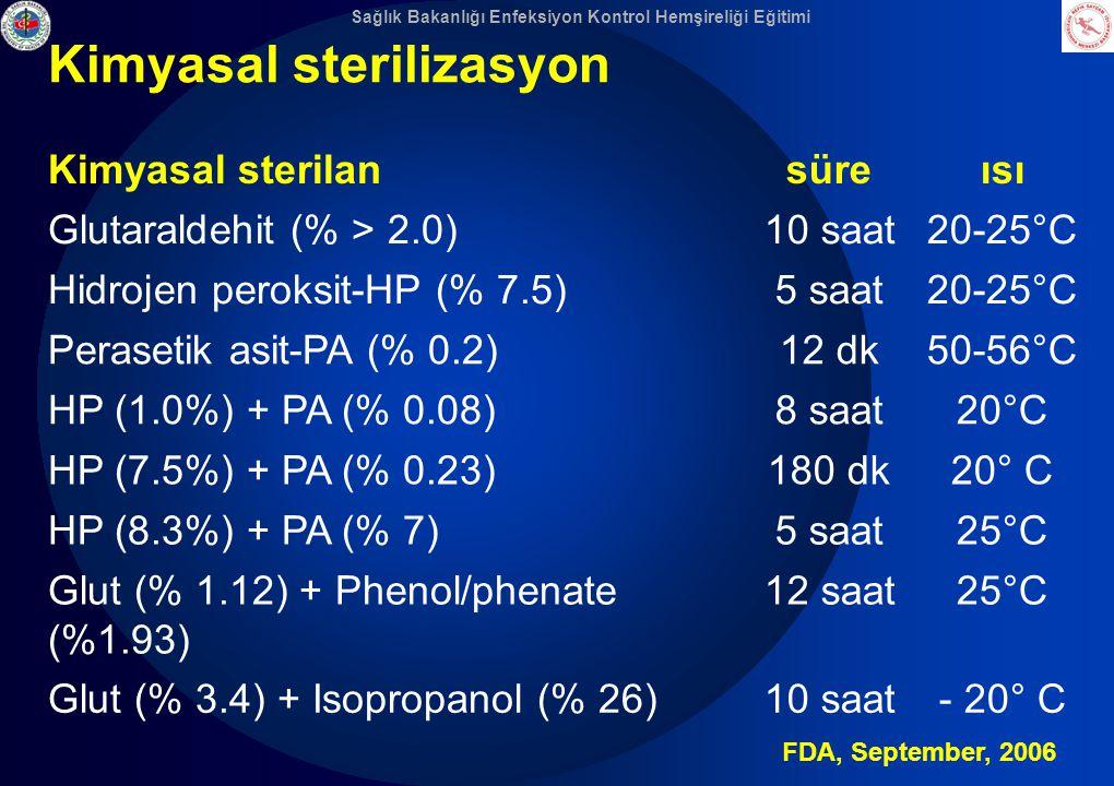 Sağlık Bakanlığı Enfeksiyon Kontrol Hemşireliği Eğitimi Kimyasal sterilizasyon Kimyasal sterilansüreısı Glutaraldehit (% > 2.0)10 saat20-25°C Hidrojen