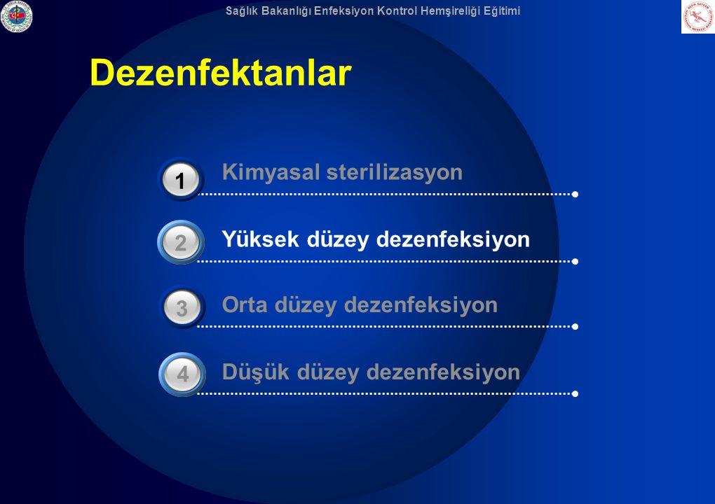 Sağlık Bakanlığı Enfeksiyon Kontrol Hemşireliği Eğitimi Dezenfektanlar Yüksek düzey dezenfeksiyon 2 Düşük düzey dezenfeksiyon 4 Orta düzey dezenfeksiy
