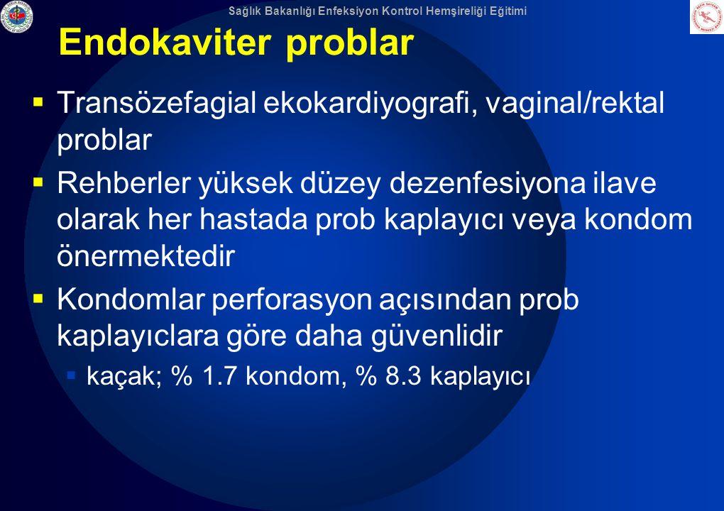 Sağlık Bakanlığı Enfeksiyon Kontrol Hemşireliği Eğitimi Endokaviter problar  Transözefagial ekokardiyografi, vaginal/rektal problar  Rehberler yükse