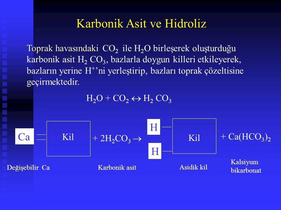 Karbonik Asit ve Hidroliz Toprak havasındaki Toprak havasındaki CO 2 ile H 2 O birleşerek oluşturduğu karbonik asit H 2 CO 3, bazlarla doygun killeri