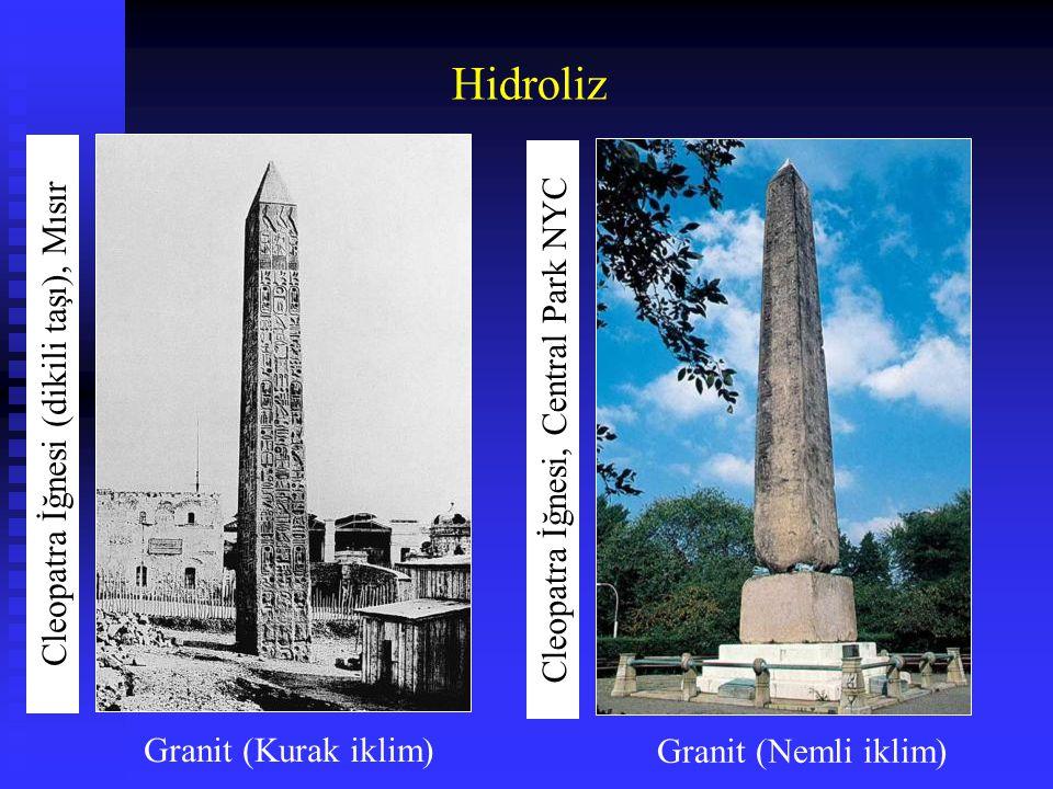 Hidroliz Cleopatra İğnesi (dikili taşı), Mısır Cleopatra İğnesi, Central Park NYC Granit (Kurak iklim) Granit (Nemli iklim)