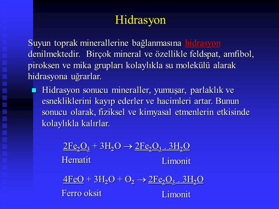 Hidrasyon Suyun toprak minerallerine bağlanmasına hidrasyon denilmektedir. Birçok mineral ve özellikle feldspat, amfibol, piroksen ve mika grupları ko