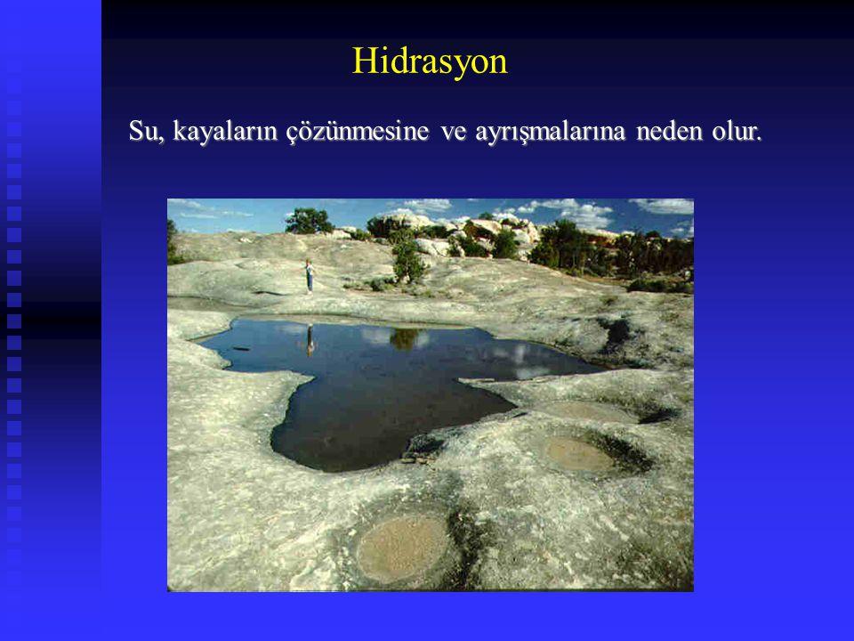 Hidrasyon Su, kayaların çözünmesine ve ayrışmalarına neden olur.