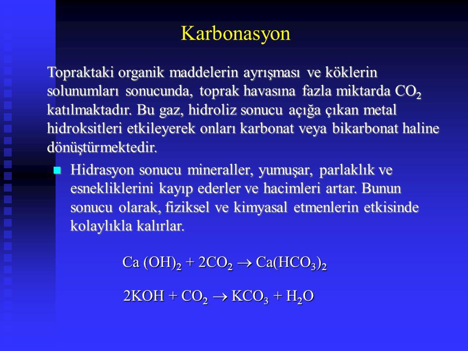 Karbonasyon Topraktaki organik maddelerin ayrışması ve köklerin solunumları sonucunda, toprak havasına fazla miktarda CO 2 katılmaktadır. Bu gaz, hidr