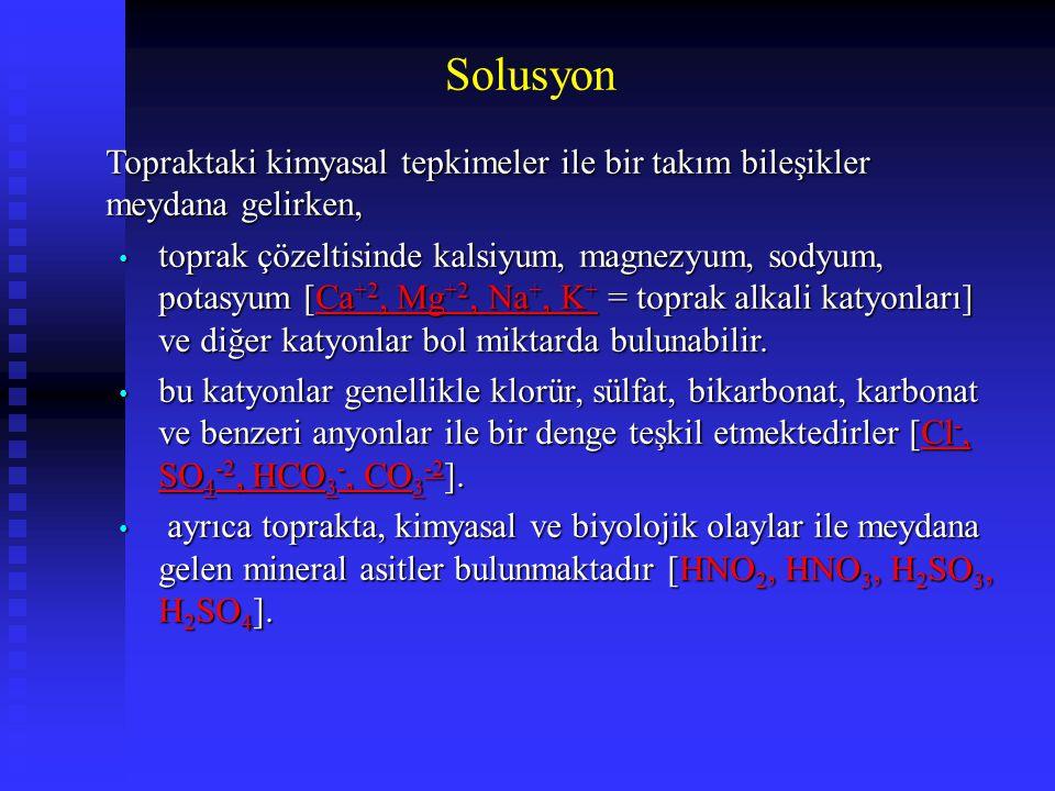 Solusyon Topraktaki kimyasal tepkimeler ile bir takım bileşikler meydana gelirken, toprak çözeltisinde kalsiyum, magnezyum, sodyum, potasyum [Ca +2, M