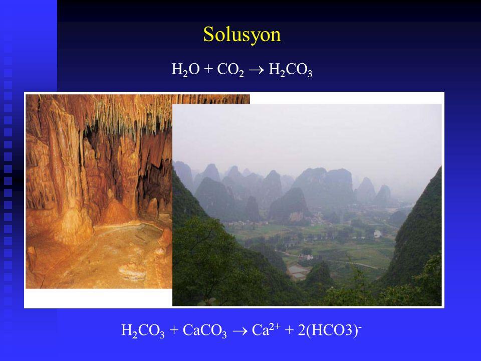 Solusyon H 2 O + CO 2  H 2 CO 3 H 2 CO 3 + CaCO 3  Ca 2+ + 2(HCO3) -