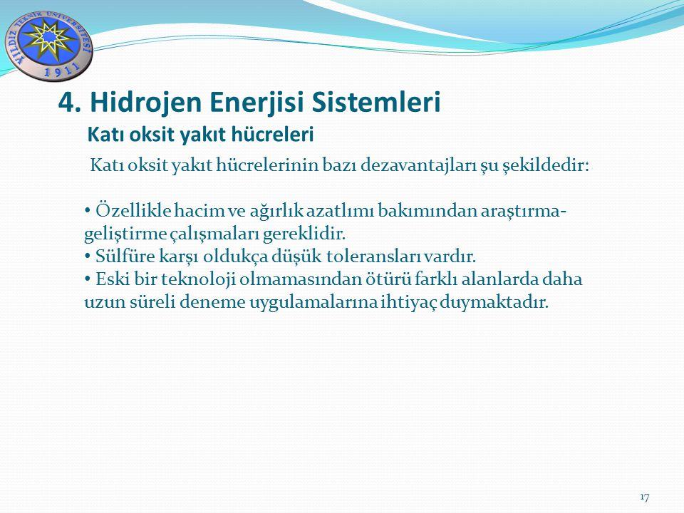 4. Hidrojen Enerjisi Sistemleri 17 Katı oksit yakıt hücreleri Katı oksit yakıt hücrelerinin bazı dezavantajları şu şekildedir: Özellikle hacim ve ağır