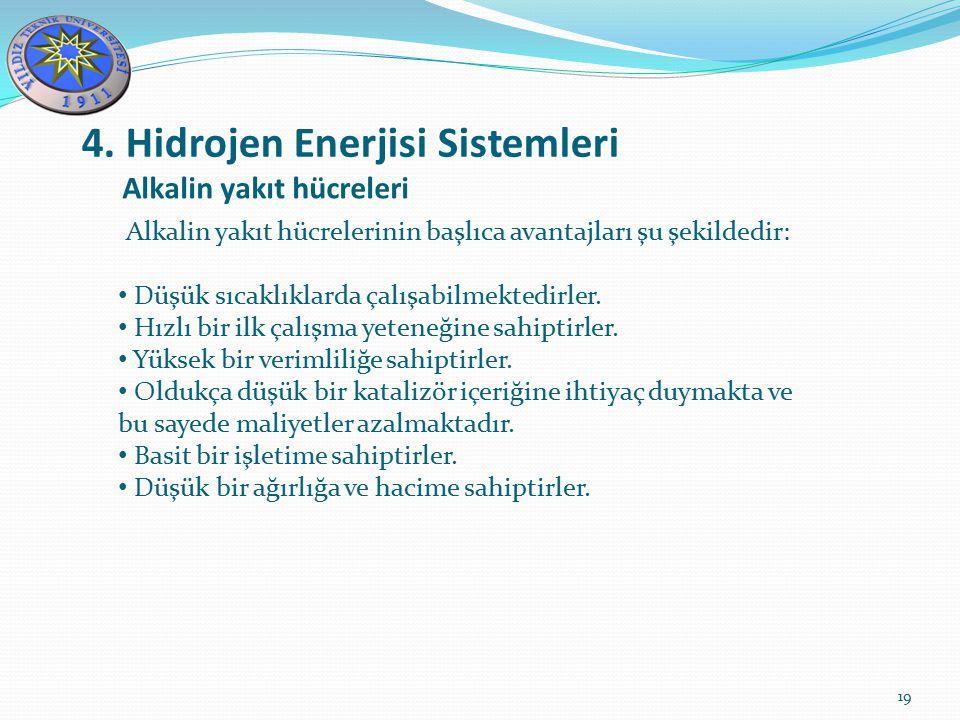4. Hidrojen Enerjisi Sistemleri 19 Alkalin yakıt hücreleri Alkalin yakıt hücrelerinin başlıca avantajları şu şekildedir: Düşük sıcaklıklarda çalışabil