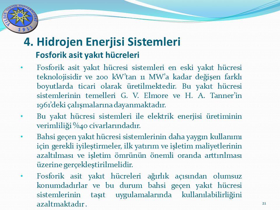 4. Hidrojen Enerjisi Sistemleri 21 Fosforik asit yakıt hücreleri Fosforik asit yakıt hücresi sistemleri en eski yakıt hücresi teknolojisidir ve 200 kW