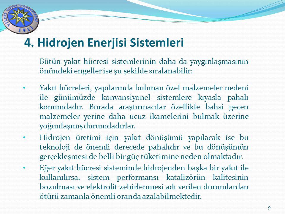 4. Hidrojen Enerjisi Sistemleri 9 Bütün yakıt hücresi sistemlerinin daha da yaygınlaşmasının önündeki engeller ise şu şekilde sıralanabilir: Yakıt hüc