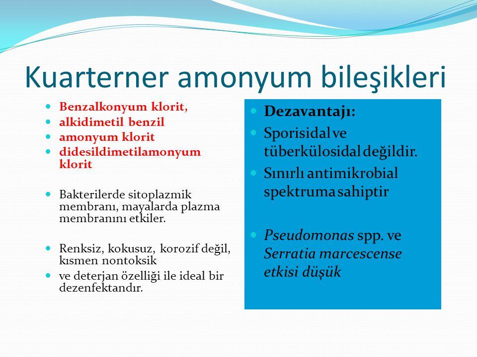 Kuarterner amonyum bileşikleri Benzalkonyum klorit, alkidimetil benzil amonyum klorit didesildimetilamonyum klorit Bakterilerde sitoplazmik membranı,