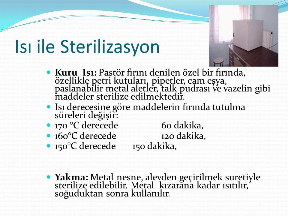 Isı ile Sterilizasyon Kuru Isı: Pastör fırını denilen özel bir fırında, özellikle petri kutuları, pipetler, cam eşya, paslanabilir metal aletler, talk