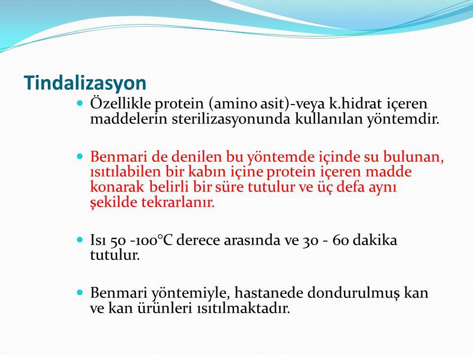 Tindalizasyon Özellikle protein (amino asit)-veya k.hidrat içeren maddelerin sterilizasyonunda kullanılan yöntemdir. Benmari de denilen bu yöntemde iç