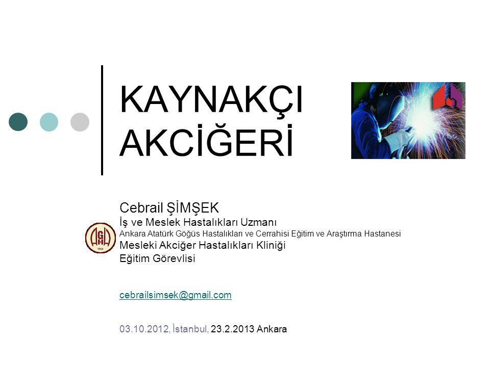 KAYNAKÇI AKCİĞERİ Cebrail ŞİMŞEK İş ve Meslek Hastalıkları Uzmanı Ankara Atatürk Göğüs Hastalıkları ve Cerrahisi Eğitim ve Araştırma Hastanesi Mesleki