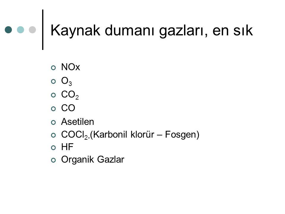 Kaynak dumanı gazları, en sık NOx O 3 CO 2 CO Asetilen COCl 2- (Karbonil klorür – Fosgen) HF Organik Gazlar