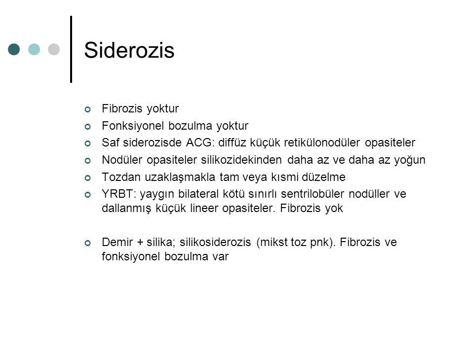 Siderozis Fibrozis yoktur Fonksiyonel bozulma yoktur Saf siderozisde ACG: diffüz küçük retikülonodüler opasiteler Nodüler opasiteler silikozidekinden