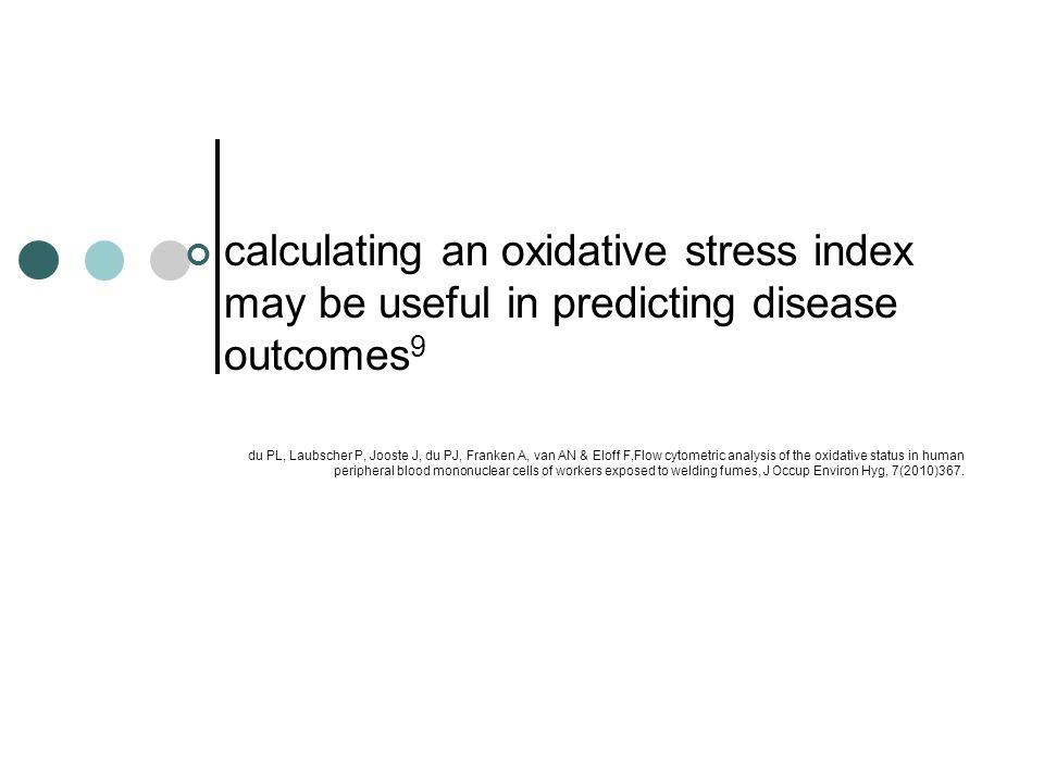 calculating an oxidative stress index may be useful in predicting disease outcomes 9 du PL, Laubscher P, Jooste J, du PJ, Franken A, van AN & Eloff F,