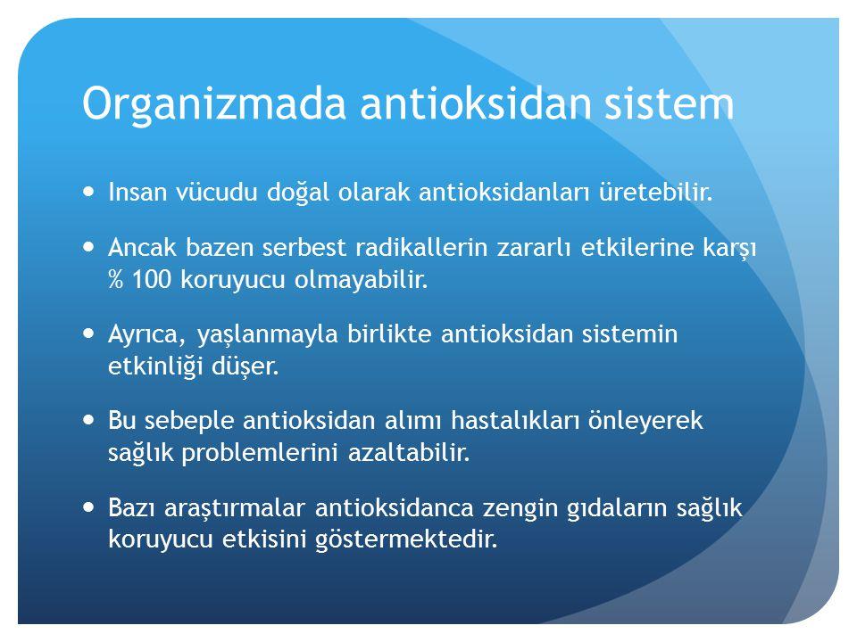 Organizmada antioksidan sistem Insan vücudu doğal olarak antioksidanları üretebilir.