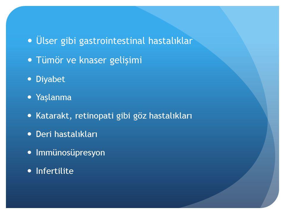 Ülser gibi gastrointestinal hastalıklar Tümör ve knaser gelişimi Diyabet Yaşlanma Katarakt, retinopati gibi göz hastalıkları Deri hastalıkları Immünosüpresyon Infertilite