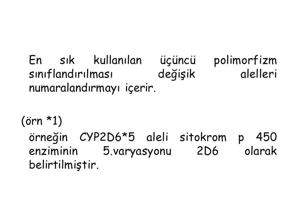 En sık kullanılan üçüncü polimorfizm sınıflandırılması değişik alelleri numaralandırmayı içerir.
