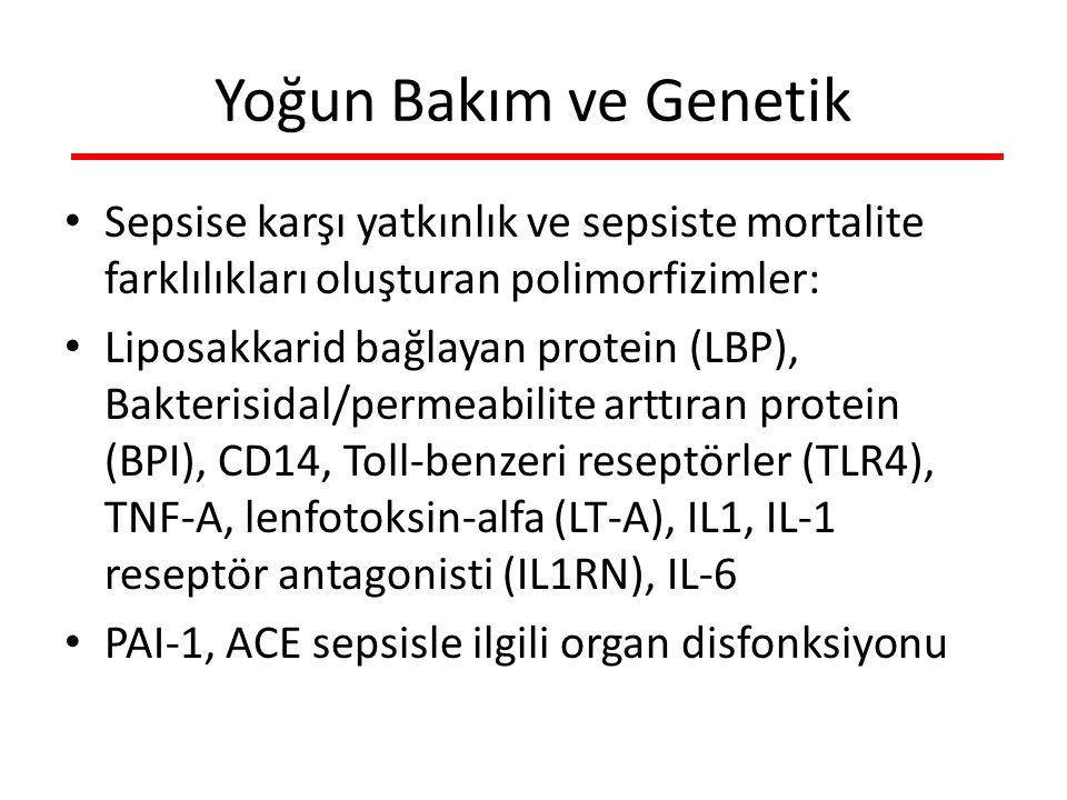 Yoğun Bakım ve Genetik Sepsise karşı yatkınlık ve sepsiste mortalite farklılıkları oluşturan polimorfizimler: Liposakkarid bağlayan protein (LBP), Bakterisidal/permeabilite arttıran protein (BPI), CD14, Toll-benzeri reseptörler (TLR4), TNF-A, lenfotoksin-alfa (LT-A), IL1, IL-1 reseptör antagonisti (IL1RN), IL-6 PAI-1, ACE sepsisle ilgili organ disfonksiyonu