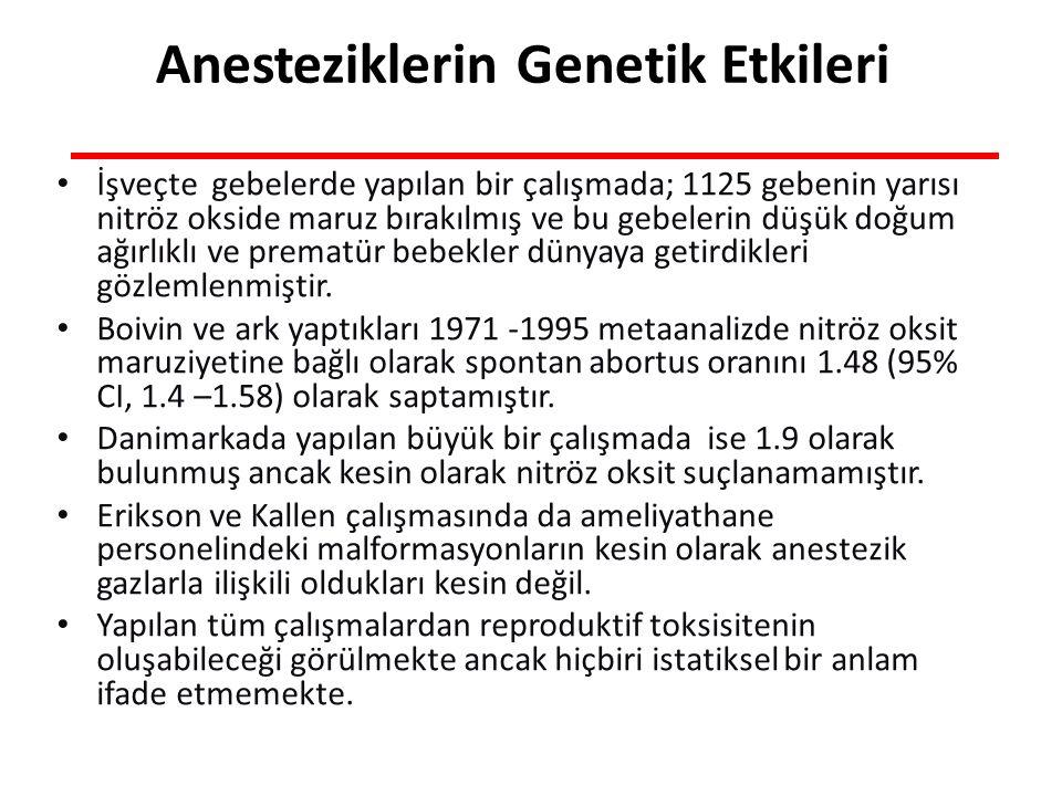 İşveçte gebelerde yapılan bir çalışmada; 1125 gebenin yarısı nitröz okside maruz bırakılmış ve bu gebelerin düşük doğum ağırlıklı ve prematür bebekler dünyaya getirdikleri gözlemlenmiştir.