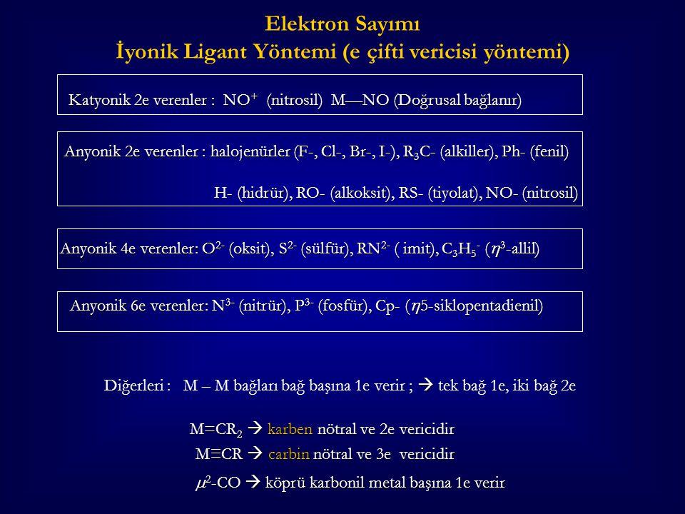 Katyonik 2e verenler : NO + (nitrosil) M—NO (Doğrusal bağlanır) Katyonik 2e verenler : NO + (nitrosil) M—NO (Doğrusal bağlanır) Anyonik 2e verenler :