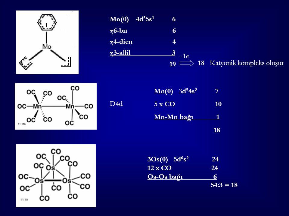 Mo(0) 4d 5 5s 1 6 η6-bn 6 η4-dien 4 η3-allil 3 19 -1e 18 Katyonik kompleks oluşur Mn(0) 3d 5 4s 2 7 5 x CO 10 Mn-Mn bağı 1 18 3Os(0) 5d 6 s 2 24 12 x