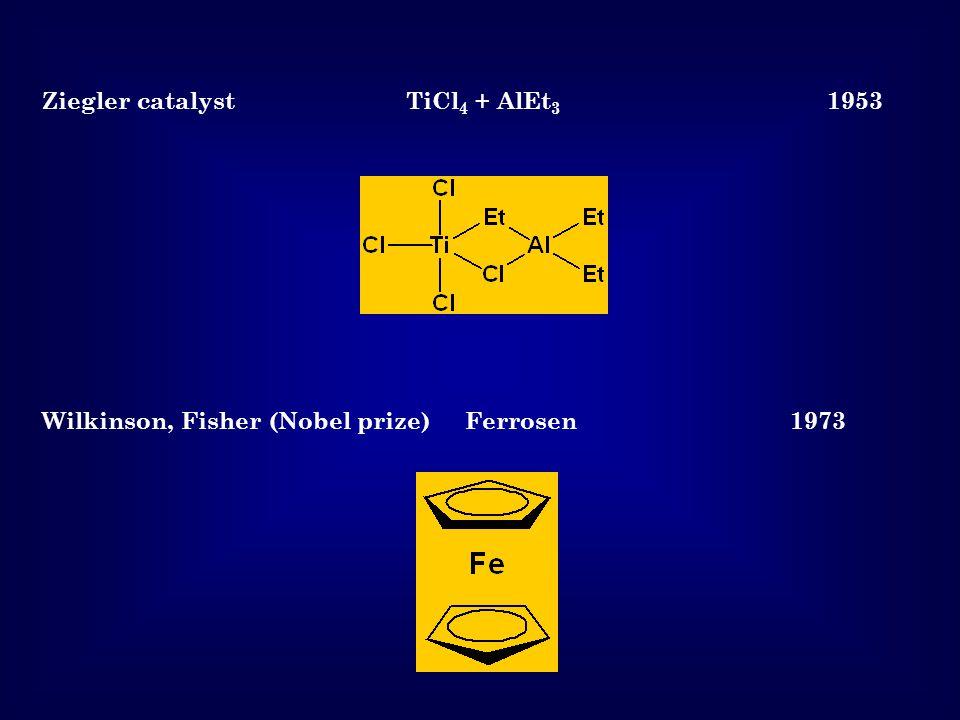 Ziegler catalyst TiCl 4 + AlEt 3 1953 Wilkinson, Fisher (Nobel prize) Ferrosen 1973