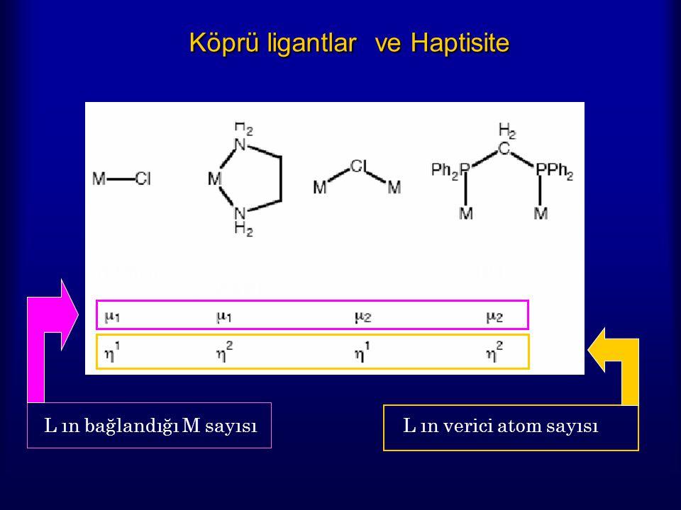 Köprü ligantlar ve Haptisite L ın bağlandığı M sayısı L ın verici atom sayısı