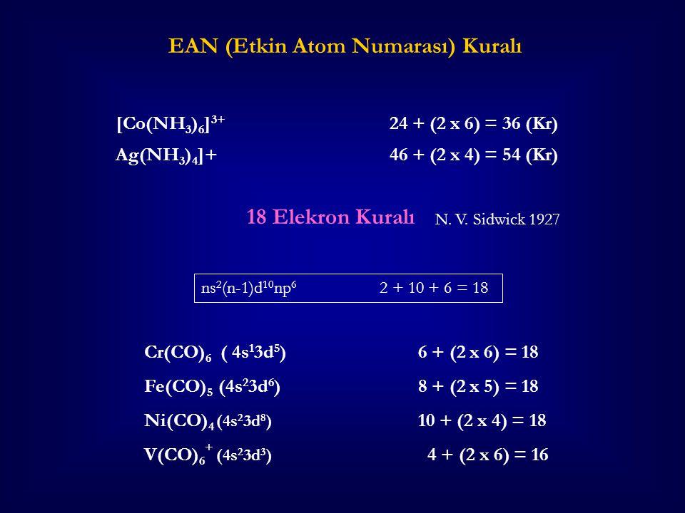 EAN (Etkin Atom Numarası) Kuralı Cr(CO) 6 ( 4s 1 3d 5 )6 + (2 x 6) = 18 Fe(CO) 5 (4s 2 3d 6 )8 + (2 x 5) = 18 Ni(CO) 4 (4s 2 3d 8 ) 10 + (2 x 4) = 18