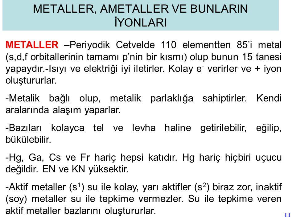 11 METALLER, AMETALLER VE BUNLARIN İYONLARI METALLER –Periyodik Cetvelde 110 elementten 85'i metal (s,d,f orbitallerinin tamamı p'nin bir kısmı) olup