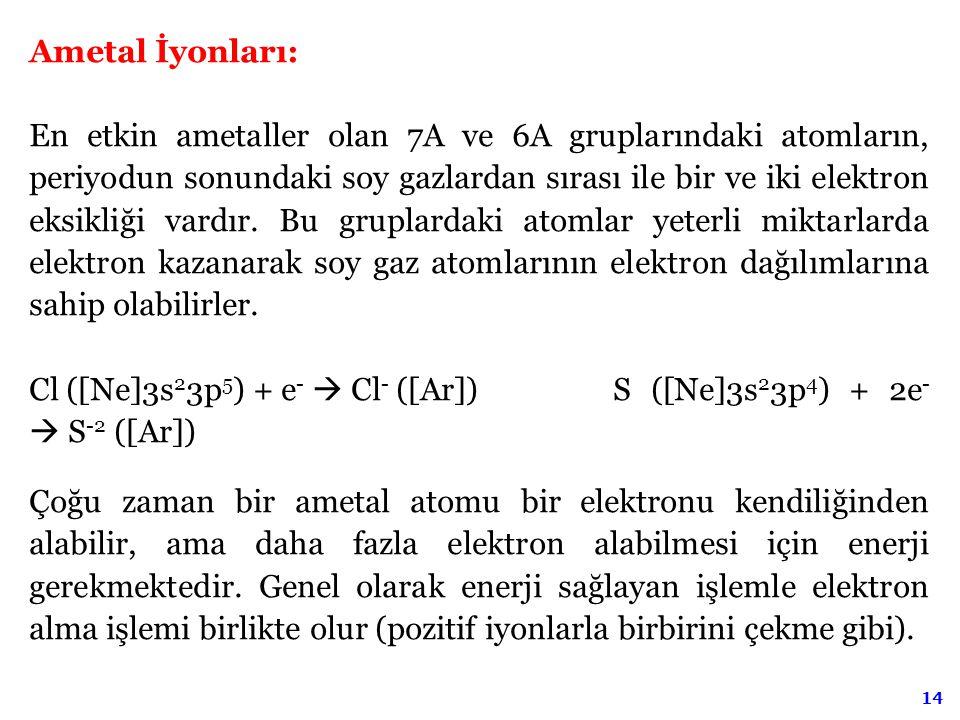 14 Ametal İyonları: En etkin ametaller olan 7A ve 6A gruplarındaki atomların, periyodun sonundaki soy gazlardan sırası ile bir ve iki elektron eksikli