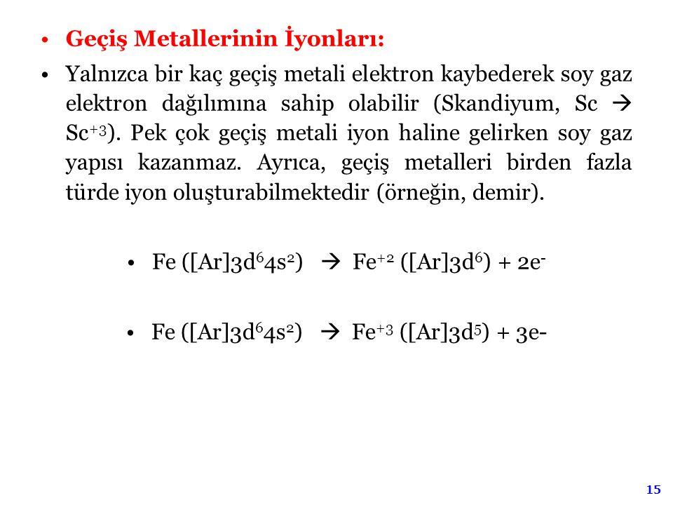 15 Geçiş Metallerinin İyonları: Yalnızca bir kaç geçiş metali elektron kaybederek soy gaz elektron dağılımına sahip olabilir (Skandiyum, Sc  Sc +3 ).