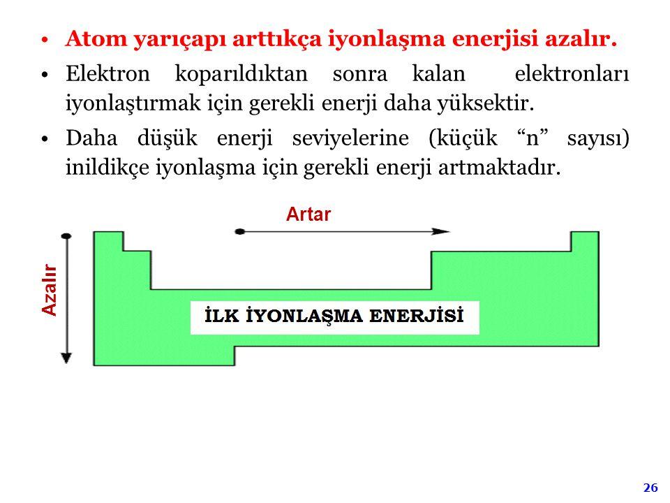 26 Atom yarıçapı arttıkça iyonlaşma enerjisi azalır. Elektron koparıldıktan sonra kalan elektronları iyonlaştırmak için gerekli enerji daha yüksektir.