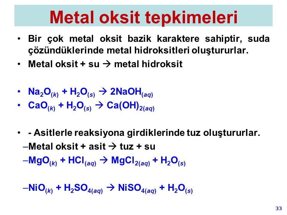 33 Metal oksit tepkimeleri Bir çok metal oksit bazik karaktere sahiptir, suda çözündüklerinde metal hidroksitleri oluştururlar. Metal oksit + su  met