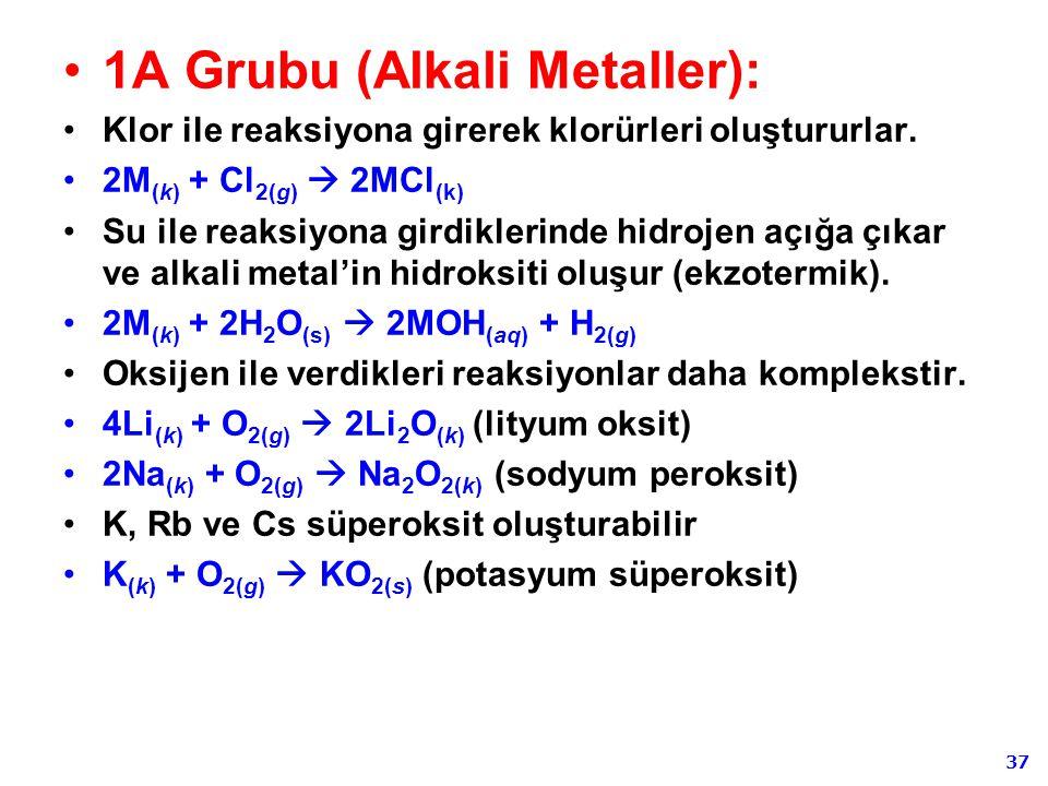 37 1A Grubu (Alkali Metaller): Klor ile reaksiyona girerek klorürleri oluştururlar. 2M (k) + Cl 2(g)  2MCl (k) Su ile reaksiyona girdiklerinde hidroj
