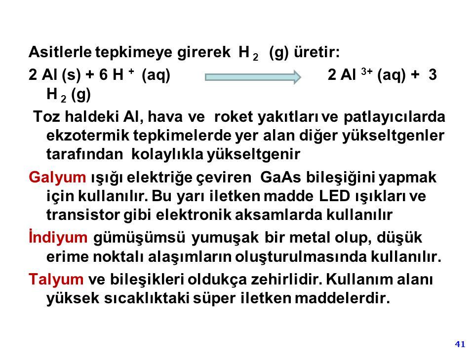 41 Asitlerle tepkimeye girerek H 2 (g) üretir: 2 Al (s) + 6 H + (aq) 2 Al 3+ (aq) + 3 H 2 (g) Toz haldeki Al, hava ve roket yakıtları ve patlayıcılard