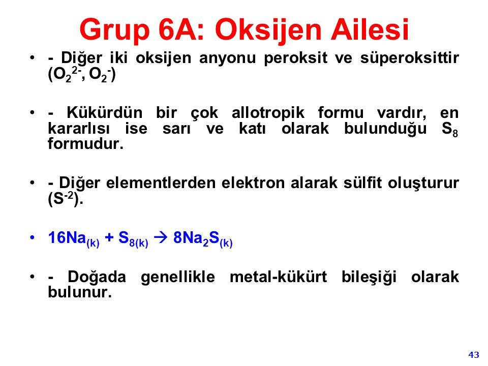 43 Grup 6A: Oksijen Ailesi - Diğer iki oksijen anyonu peroksit ve süperoksittir (O 2 2-, O 2 - ) - Kükürdün bir çok allotropik formu vardır, en kararl