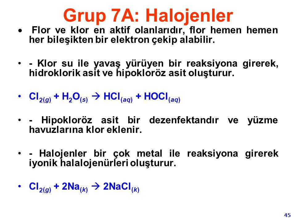 45 Grup 7A: Halojenler  Flor ve klor en aktif olanlarıdır, flor hemen hemen her bileşikten bir elektron çekip alabilir. - Klor su ile yavaş yürüyen b
