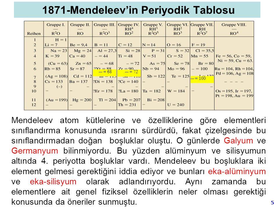 5 Mendeleev atom kütlelerine ve özelliklerine göre elementleri sınıflandırma konusunda ısrarını sürdürdü, fakat çizelgesinde bu sınıflandırmadan doğan
