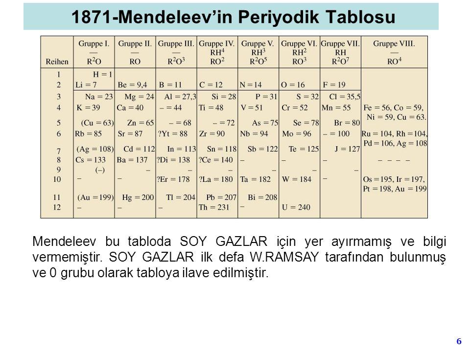 6 Mendeleev bu tabloda SOY GAZLAR için yer ayırmamış ve bilgi vermemiştir. SOY GAZLAR ilk defa W.RAMSAY tarafından bulunmuş ve 0 grubu olarak tabloya