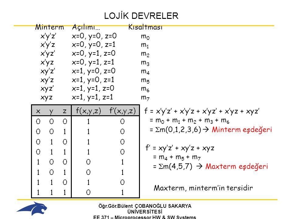 Öğr.Gör.Bülent ÇOBANOĞLU SAKARYA ÜNİVERSİTESİ EE 371 – Microprocessor HW & SW Systems Fall 2006 LOJİK DEVRELER f = x'y'z' + x'y'z + x'yz' + x'yz + xyz' = m 0 + m 1 + m 2 + m 3 + m 6 =  m(0,1,2,3,6)  Minterm eşdeğeri f' = xy'z' + xy'z + xyz = m 4 + m 5 + m 7 =  m(4,5,7)  Maxterm eşdeğeri Maxterm, minterm'in tersidir MintermAçılımı…Kısaltması x'y'z'x=0, y=0, z=0m 0 x'y'zx=0, y=0, z=1m 1 x'yz'x=0, y=1, z=0m 2 x'yzx=0, y=1, z=1m 3 xy'z'x=1, y=0, z=0m 4 xy'zx=1, y=0, z=1m 5 xyz'x=1, y=1, z=0m 6 xyzx=1, y=1, z=1m 7